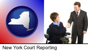New York, New York - a court reporter shaking hands with an attorney