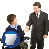arkansas map icon and a court reporter shaking hands with an attorney