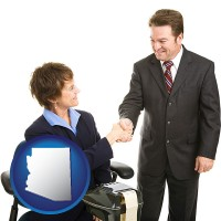 arizona map icon and a court reporter shaking hands with an attorney