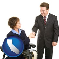 california map icon and a court reporter shaking hands with an attorney