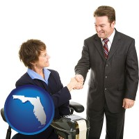 florida map icon and a court reporter shaking hands with an attorney
