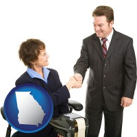 georgia map icon and a court reporter shaking hands with an attorney