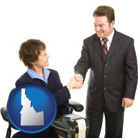 idaho map icon and a court reporter shaking hands with an attorney