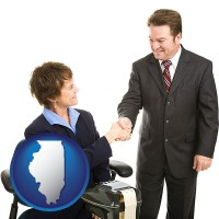 illinois map icon and a court reporter shaking hands with an attorney