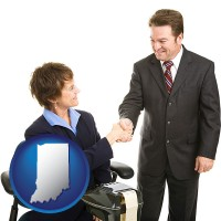 indiana map icon and a court reporter shaking hands with an attorney