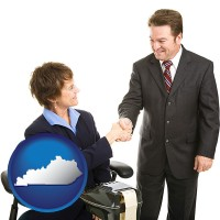 kentucky map icon and a court reporter shaking hands with an attorney