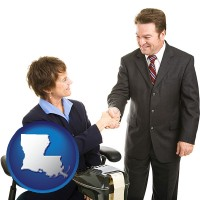 louisiana map icon and a court reporter shaking hands with an attorney
