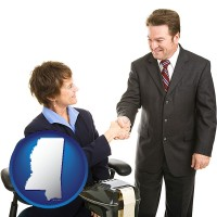 mississippi map icon and a court reporter shaking hands with an attorney