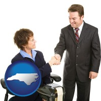 north-carolina map icon and a court reporter shaking hands with an attorney