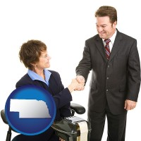 nebraska map icon and a court reporter shaking hands with an attorney
