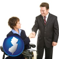 new-jersey map icon and a court reporter shaking hands with an attorney