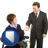 nevada a court reporter shaking hands with an attorney