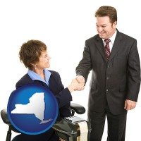 new-york map icon and a court reporter shaking hands with an attorney