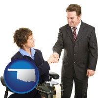 oklahoma map icon and a court reporter shaking hands with an attorney