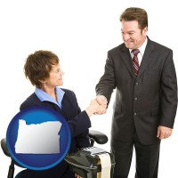 oregon map icon and a court reporter shaking hands with an attorney
