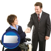 pennsylvania map icon and a court reporter shaking hands with an attorney