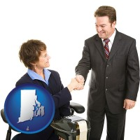 rhode-island map icon and a court reporter shaking hands with an attorney