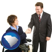 south-carolina map icon and a court reporter shaking hands with an attorney