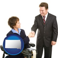 south-dakota map icon and a court reporter shaking hands with an attorney