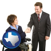 texas map icon and a court reporter shaking hands with an attorney