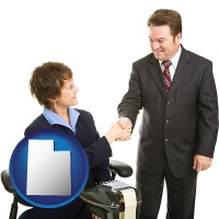 utah map icon and a court reporter shaking hands with an attorney
