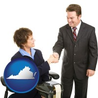 virginia map icon and a court reporter shaking hands with an attorney