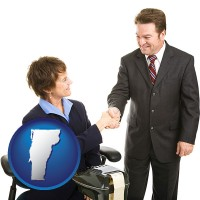 vermont map icon and a court reporter shaking hands with an attorney