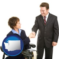 washington map icon and a court reporter shaking hands with an attorney