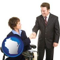 wisconsin map icon and a court reporter shaking hands with an attorney