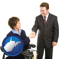 west-virginia map icon and a court reporter shaking hands with an attorney