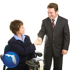 a court reporter shaking hands with an attorney - with Florida icon