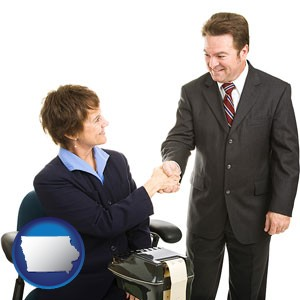 a court reporter shaking hands with an attorney - with Iowa icon
