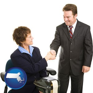a court reporter shaking hands with an attorney - with Massachusetts icon