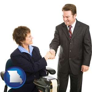 a court reporter shaking hands with an attorney - with Missouri icon