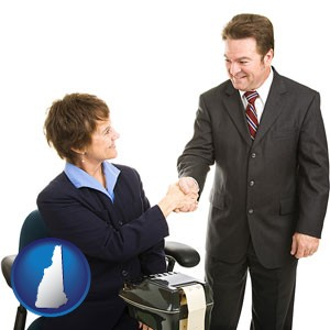 a court reporter shaking hands with an attorney - with New Hampshire icon