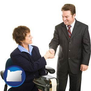 a court reporter shaking hands with an attorney - with Oregon icon
