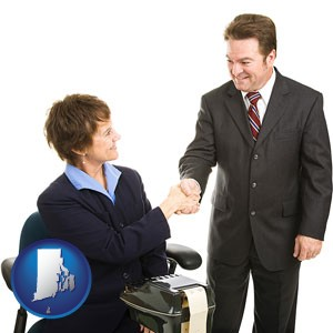 a court reporter shaking hands with an attorney - with Rhode Island icon