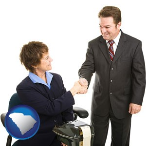 a court reporter shaking hands with an attorney - with South Carolina icon